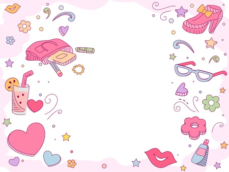 Background Illustration of Girl Fashion Items