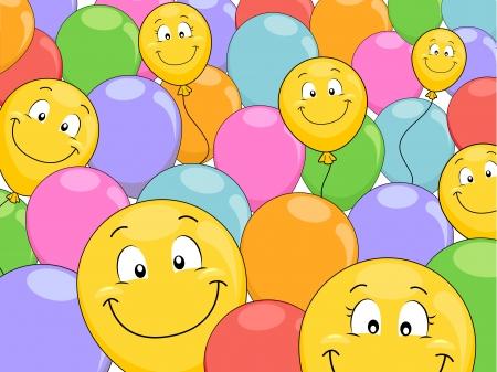 merrymaking: Background Illustration of Smiling Balloons Stock Photo