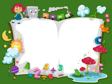 Background Illustration of a Storybook with Characters Stock Photo