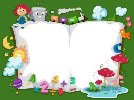 educativo: Background Ilustración de un libro de cuentos con personajes