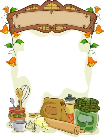 Background Illustration of Country Kitchen with Blank Signboard illustration