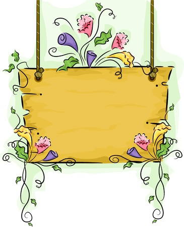 Illustration of Hanging Blank Wooden Signboard with Flower Vines