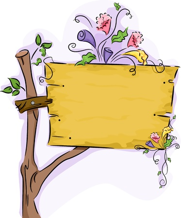 Illustration of a Wooden Signage with Flowers illustration