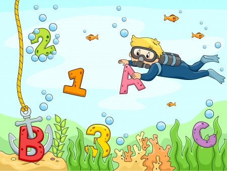 cartoon math: Background Illustration of A Kid Scubadiver searching for letters and numbers underwater