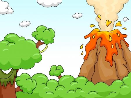 uitbarsting: Illustratie van een vulkaanuitbarsting Scene