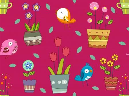 Seamless Background Illustration of Birds and Flowering Plants illustration