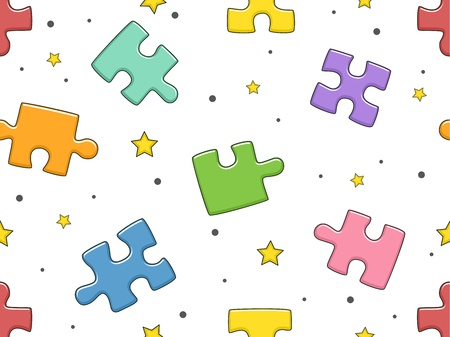 kiddie: Background Illustration of Jigsaw Puzzle Pieces Stock Photo