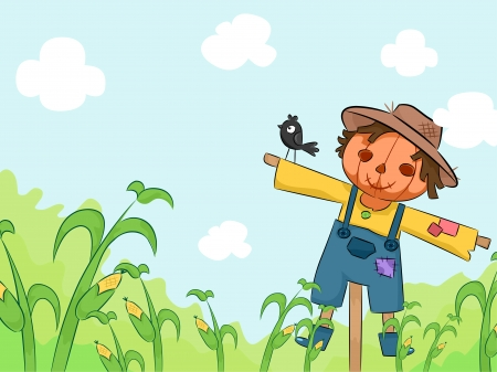 scarecrow: Illustration of a Smiling Scarecrow in a Corn Farm