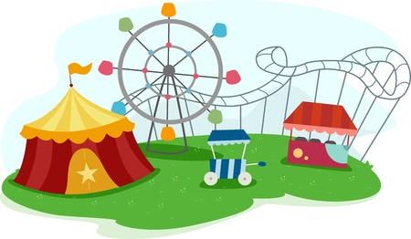 amusement park rides: Illustration of a Theme Park with Rides