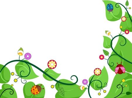 vitis: Border Illustration of Vines with Ladybugs Stock Photo
