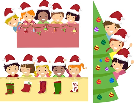 multi racial: Border Illustration of Happy Stickman Kids with Christmas Banner Stock Photo