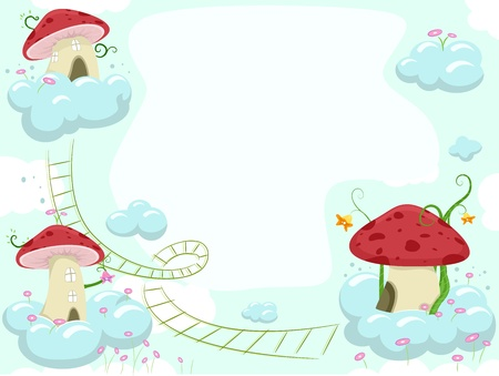 Frame Illustration of Mushroom Houses on clouds illustration