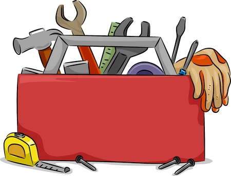 toolbox: Blank Board Illustration of Red Tool Box with Carpentry Tools Stock Photo