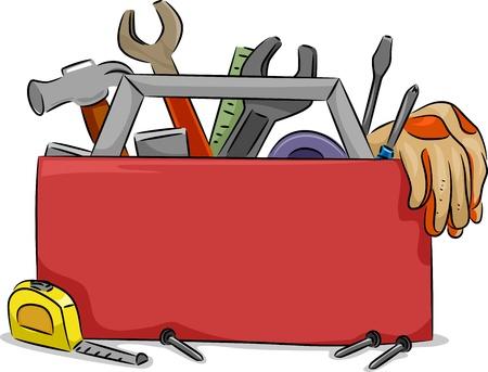 herramientas de carpinteria: Ilustraci�n Junta en blanco de la caja de herramientas roja con Herramientas para Carpinter�a