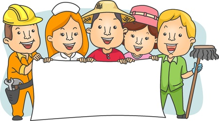 vendor: Illustration of Different Types of Workers with Blank Banner