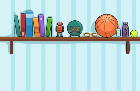 books on shelf: Illustration of a Shelf in a Boys Room Holding Books, a Toy Robot, a Basketball, a Pair of Glass and an Alarm Clock Stock Photo