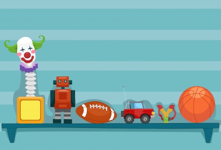toy car: Illustration of a Shelf Holding a Jack-in-the-Box, a Toy Robot, a Football, a Toy Car, a Slingshot, and a Basketball