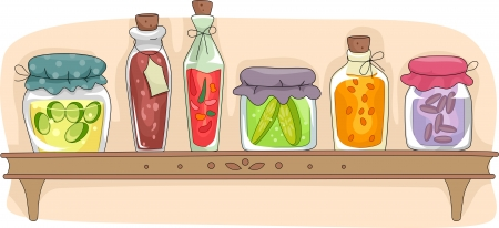 art processing: Illustration of a Kitchen Shelf Filled with Fermented Foods in Sealed Containers