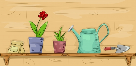 sprinklers: Illustration of a Shelf Filled with Gardening Equipment and Materials