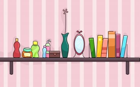 produits de beaut�: Illustration d'une �tag�re dans les produits une chambre de fille de beaut� de portefeuille, un vase, miroir, et quelques livres Banque d'images