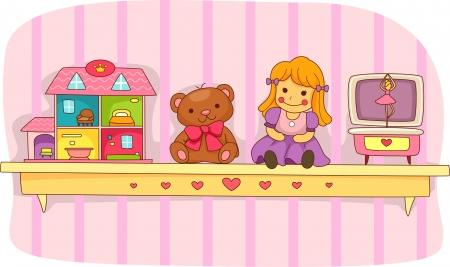 doll house: Illustration of a Shelf Holding a Teddy Bear, a Doll House, a Rag Doll, and a Music Box
