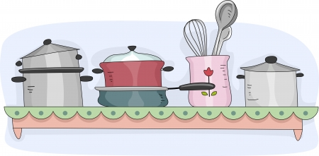 Illustration of a Kitchen Shelf Filled with Cooking Equipment illustration