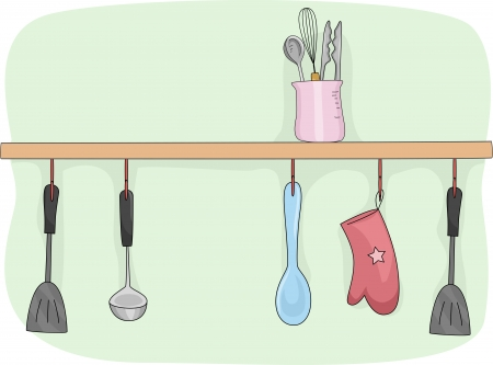 pot holder: Illustration of a Kitchen Shelf Filled with Cooking Tools