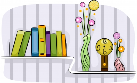 Illustration of a Modern Living Room Shelf Holding Some Books, Flower Vases, and a Clock illustration