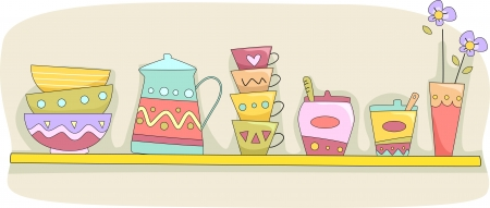 implements: Illustration of a Kitchen Shelf Holding Cups, Bowls, a Pitcher, and Other Tableware