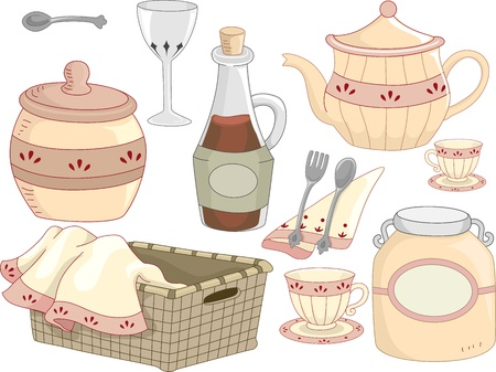 tea basket: Illustration of Kitchen Tools with a Country Feel Stock Photo
