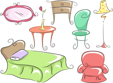 Illustration of Home Furniture Featuring a Bed, a Corner Table, a Chair, a Dresser, a Lampshade and a Mirror Stock Illustration - 16840218