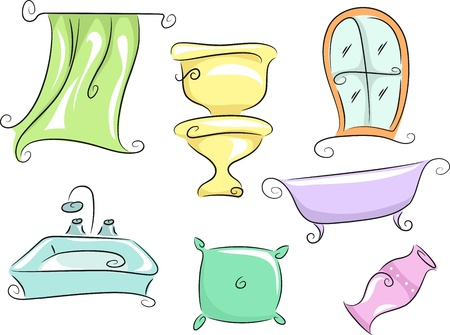 fixtures: Illustration of Home Furnishings Featuring a Shower Curtain, a Toilet Bowl, a Bath Tub, a Pillow, a Vase, a Lavatory, and a Window