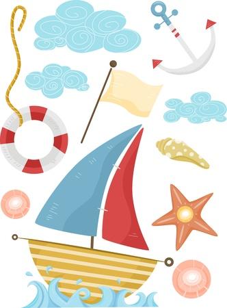 barco caricatura: Ilustraci�n de los elementos n�uticos Con un velero, un ancla, una Lifebuoy, y una bandera