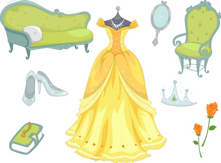 Illustration of Princess Related Design Elements illustration