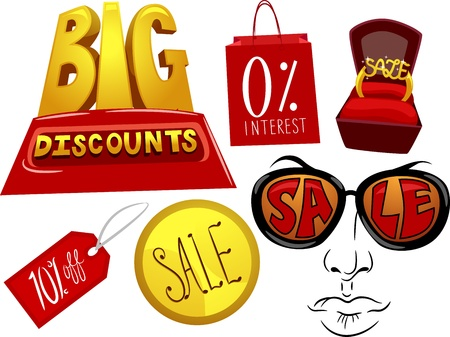 illustration promoting: Illustration of Elements Promoting Sales and Discounts Stock Photo