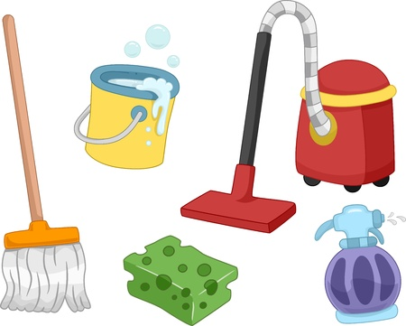 mop: Illustration of Different House Cleaning Tools and Items Stock Photo