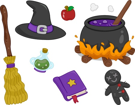 witchcraft: Illustration of Different Witchcraft Items Design Elements Stock Photo