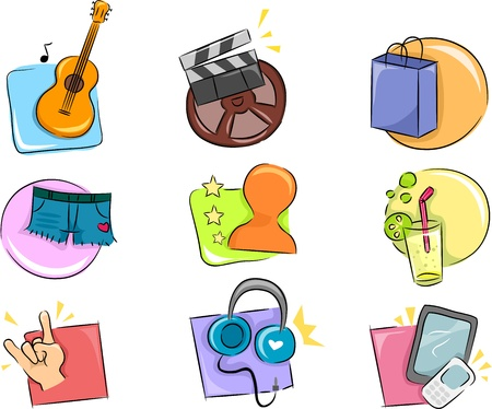 unwind: Illustration of Different Hobbies and Interests Icon Design Elements Stock Photo