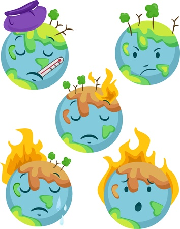deforestacion: Ilustración de los iconos del planeta enfermo muestran diferentes expresiones negativas