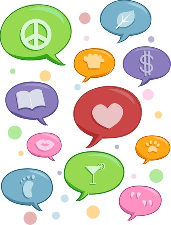 the topics: Illustration of Speech Bubbles featuring different topics