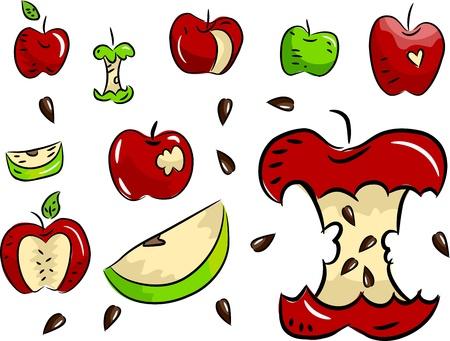 Illustration of Green and Red Apple Design Elements illustration