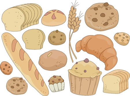 Illustration of Bread and Pastries Design Elements illustration