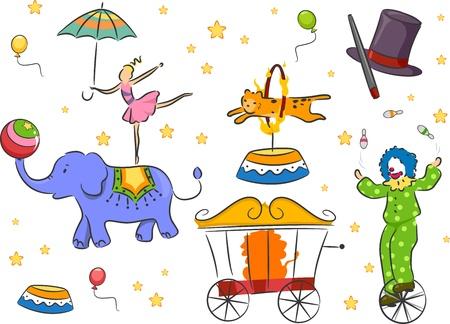 circus caravan: Illustration of Circus Design Elements