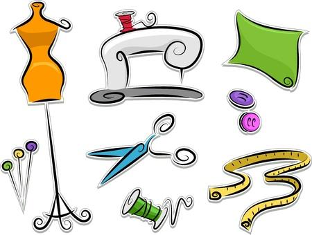 dressmaking: Illustration of Dressmaking Stickers Design Elements Stock Photo