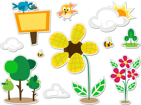 Illustration of Nature Doodle Stickers Design Elements illustration