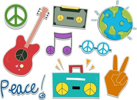 simbolo de la paz: Ilustraci�n de los elementos de dise�o de etiqueta de Paz