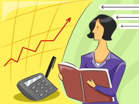 observing: Illustration of a Female Accountant observing an economy graph