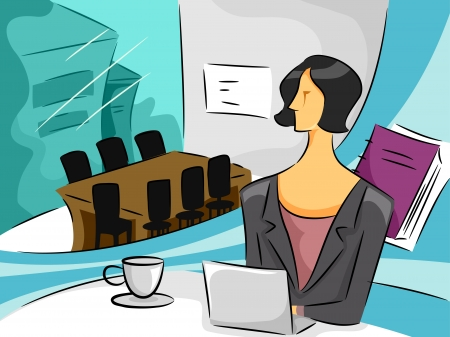 business administration: Cartoon Illustration of a Businesswoman in an office Stock Photo