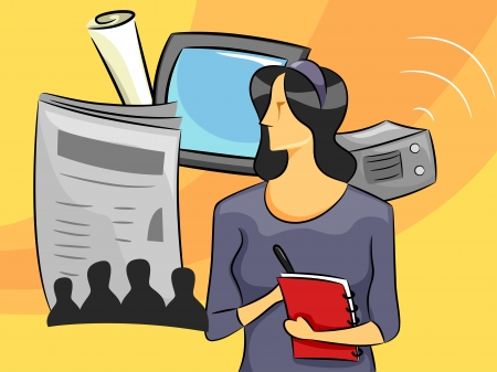 Cartoon Illustration of a Woman Journalist illustration