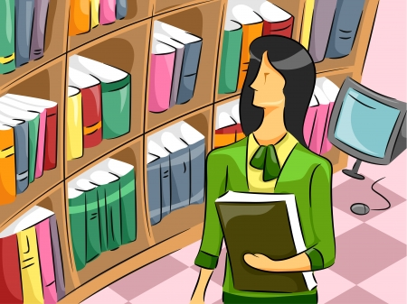 librarian: Cartoon Illustration of a Librarian Woman